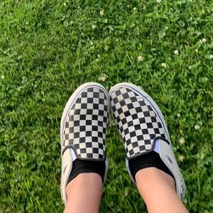 Black and white checkboard vans